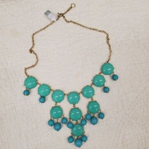 NWT J. CREW Bubble necklace turquoise, teal, gold